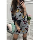 Trendy Floral Printed Bow Tied Cuff Gathered Waist Mini Sheath Dress for Women
