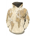Hot Popular 3D Yellow Map Printed Long Sleeve Fitted Unisex Hoodie