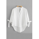 Basic Solid V Neck Bow Tied Cuff Half-Sleeved Loose Casual Asymmetric Blouse