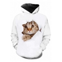 3D Yellow Cat Pattern Long Sleeve Fashion White Loose Hoodie
