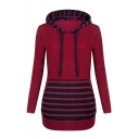 Fashionable Striped Pattern Long Sleeve Hooded Mini Pencil Hoodie Dress
