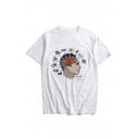Short Sleeve Round Neck Men's Head Printed White Cotton T-Shirt