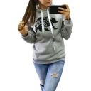 Winter's Long Sleeve Trendy Letter Animal Printed Fitted Hoodie