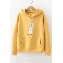 Students' Lovely Rabbit Embroidered Long Sleeve Casual Hoodie