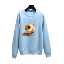 Cute Cartoon Squirrel Pattern Crew Neck Long Sleeve Pullover Sweatshirt