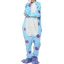 Purple Polka Dot Printed Fleece Unisex Carnival Costume Blue Pajamas