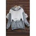 Lovely Cartoon Cat Printed Long Sleeve Color Block Gray Leisure Hoodie