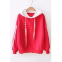Colorblock Striped Printed Long Sleeve Letter Ribbon Casual Loose Hoodie
