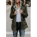 Winter's Long Sleeve Fur Hooded Multi-Pocket Embellished Zip Up Parka Coat