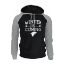 New Fashion Letter WINTER IS COMING Printed Colorblock Men's Hoodie