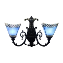 Blue Mediterranean Tiffany-Style Inverted Double Light Hallway Sconce