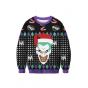 3D Christmas Clown Pattern Geometric Print Long Sleeve Crewneck Black Sweatshirt