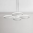 Contemporary Indoor Lighting for Restaurant Dining Room White Acrylic Multi Light Chandelier 60/72W LED Flower-Petal Hanging Light