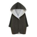 Gray Long Sleeve Hooded Fashion Longline Fleece Coat