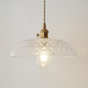 Dome Hanging Ceiling Lamp with Ripple Glass Shade Vintage Style 1 Head Pendant Light in Brass