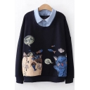 Lapel Collar Patched Long Sleeve Cute Cartoon Cat Printed Regular Fitted Sweatshirt