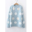 Chic Color Block Polka Dot Printed Crew Neck Long Sleeve Casual Sweater