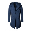 Trendy Hooded Long Sleeve Single Button Front Solid Slim Fitted Coat