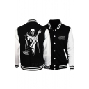 New Trendy Cartoon Character Printed Back Long Sleeve Stand Collar Baseball Jacket for Guys