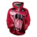 Hot Fashion 3D Red Snake Pattern Long Sleeve Pullover Sports Casual Hoodie