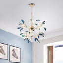 High Brightness 12/48/60W 4/16/20 Light LED Heracelum II Chandelier Height Adjustable Indoor Light Blue Glass Chandeliers
