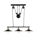 Industrial 3 Light Linear Chandelier 35