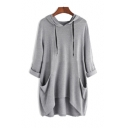 New Stylish Half-Sleeved Hooded High Low Hem Solid Tunic Relaxed T-Shirt with Pockets