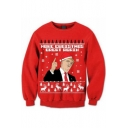 New Arrival Christmas Trump Pattern Round Neck Long Sleeve Red Sweatshirt
