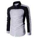 Men's Chic Black and White Two-Tone Lapel Collar Long Sleeve Button Front Slim Shirt