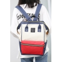 Students Fashion Color Block Waterproof Simple Backpack School Bag