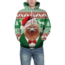 New Arrival 3D Christmas Cartoon Animal Printed Green Hoodie