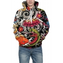 3D Digital Animal Pattern Snake Floral Printed Leisure Hoodie