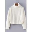 Women's Turtle Neck Long Sleeve White Cable Knitted Sweater