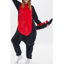 Trendy Unisex Color Block Dinosaur Cosplay Fleece Costume Onesie Pajamas for Adult