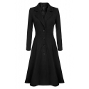 Classic Notched Lapel Collar Long Sleeve Button Down Solid Longline Trench Coat