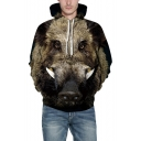 Popular 3D Animal Pattern Long Sleeve Unisex Khaki Loose Leisure Hoodie