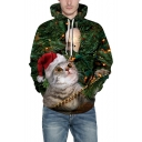 Hot Fashion 3D Christmas Cat Pattern Long Sleeve Green Sports Unisex Hoodie