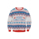 MERRY CHRISTMAS Letter Printed Color Block Round Neck Long Sleeve Sweatshirt