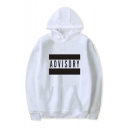 Unique ADVISORY Letter Print Long Sleeve Casual Loose Hoodie