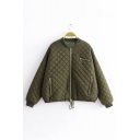 Army Green Stand Collar Long Sleeve Multi Zip Embellished Cotton-Padded Zip Up Jacket