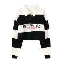 Letter SELFWHO Print Striped Polo Collar Long Sleeve Cropped Sweatshirt