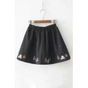 Car Embroidered Hem Elastic Waist Mini A-Line Woolen Skirt
