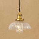 Industrial Semicircle Pendant Light Ribbed Glass 1 Bulb Drop Light in Brass/Copper for Dining Room