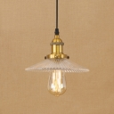 Vintage Hanging Pendant 1 Light with Clear Prismatic Glass Saucer Shade for Restaurant Foyer
