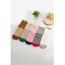 Funny Cartoon Cat Striped Printed Cotton Sox Socks of Five Pairs