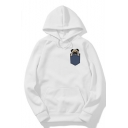 Cute Cartoon Dog Embroidered Pocket Patch Long Sleeve Loose White Drawstring Hoodie