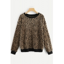 New Arrival Trendy Leopard Printed Round Neck Long Sleeve Pullover Fleece Coffee Sweatshirt