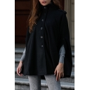 Winter's Trendy Black Stand Collar Button Front Woolen Cape Coat