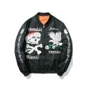 Black Fashion Letter Graffiti Skull Pattern Long Sleeve Zip Up MA-1 Bomber Jacket