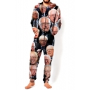 New Arrival 3D Figure Pattern Long Sleeve Hooded Unisex Loose Casual Jumpsuits